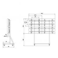 Комплект напольный Tilt Up для видео стен на 6 экранов ONKRON FSPRO3L-22, чёрный - вид 5 миниатюра