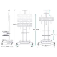 "ONKRON стойка для телевизора с кронштейном 55""-80"", мобильная, белая TS1881 - вид 4 миниатюра"