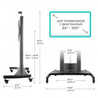 """ONKRON стойка для телевизора с кронштейном 55""""-100"""", мобильная, чёрная TS2210 - вид 6 миниатюра"""