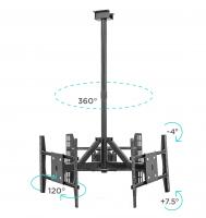 "ONKRON потолочный кронштейн для 3 телевизоров 32""- 63"" CPRO2L-3 чёрный - вид 4 миниатюра"