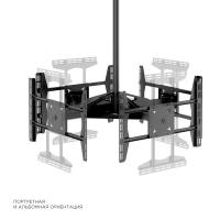 "ONKRON потолочный кронштейн для 4 телевизоров 32""- 55"" CPRO2L-4 чёрный - вид 2 миниатюра"