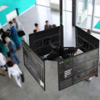 "ONKRON потолочный кронштейн для 4 телевизоров 32""- 55"" CPRO2L-4 чёрный - вид 6 миниатюра"