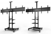 """ONKRON стойка для двух телевизоров с кронштейном 40""""-65"""", мобильная, чёрная TS1881DV - вид 2 миниатюра"""