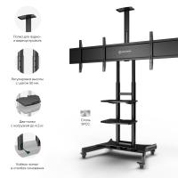 """ONKRON стойка для двух телевизоров с кронштейном 40""""-65"""", мобильная, чёрная TS1881DV - вид 4 миниатюра"""
