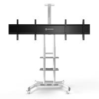"""ONKRON стойка для двух телевизоров с кронштейном 40""""-65"""", мобильная, белая TS1881DV - вид 1 миниатюра"""