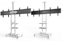 """ONKRON стойка для двух телевизоров с кронштейном 40""""-65"""", мобильная, белая TS1881DV - вид 2 миниатюра"""