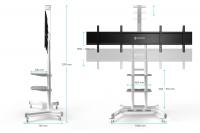"""ONKRON стойка для двух телевизоров с кронштейном 40""""-65"""", мобильная, белая TS1881DV - вид 3 миниатюра"""