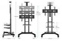 """ONKRON стойка для телевизора с кронштейном 55""""-80"""", мобильная, чёрная TS1881 - вид 2 миниатюра"""