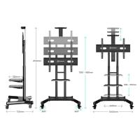 """ONKRON стойка для телевизора с кронштейном 55""""-80"""", мобильная, чёрная TS1881 - вид 4 миниатюра"""