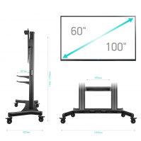 """ONKRON стойка для телевизора с кронштейном 60""""-100"""", мобильная, чёрная TS2811 - вид 5 миниатюра"""
