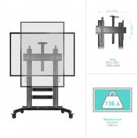 """ONKRON стойка для телевизора с кронштейном 60""""-100"""", мобильная, чёрная TS2811 - вид 6 миниатюра"""