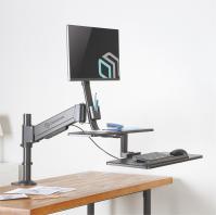 """ONKRON кронштейн для монитора 17""""-27"""" с полкой для клавиатуры, настольный, чёрный W3GD - вид 7 миниатюра"""