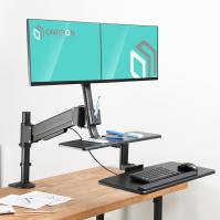 """ONKRON кронштейн для двух мониторов 17""""-27"""" с полкой для клавиатуры, настольный, чёрный W4GD - вид 8 миниатюра"""