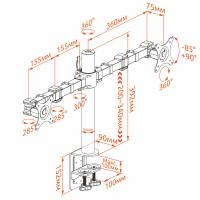 """KRON кронштейн для двух мониторов 10""""-32"""" настольный, чёрный D221E - вид 8 миниатюра"""