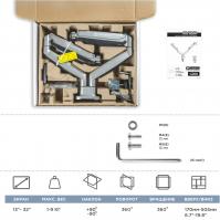 """ONKRON кронштейн для монитора 13""""-32"""" настольный, серебристый G200 - вид 7 миниатюра"""