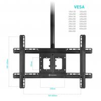 """ONKRON потолочный кронштейн для телевизора 32""""-80"""" потолочный телескопический, чёрный N1L - вид 4 миниатюра"""
