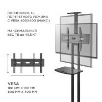 """ONKRON стойка для телевизора с кронштейном 32""""-65"""", мобильная, чёрная TS1551 - вид 5 миниатюра"""