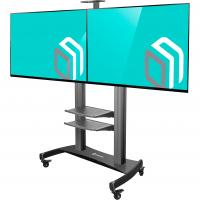 """ONKRON стойка для двух телевизоров с кронштейном 40""""-60"""", мобильная, чёрная TS3811 - вид 1 миниатюра"""
