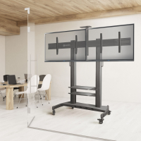 """ONKRON стойка для двух телевизоров с кронштейном 40""""-60"""", мобильная, чёрная TS3811 - вид 6 миниатюра"""