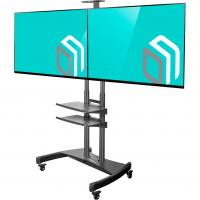 """ONKRON стойка для двух телевизоров с кронштейном 40""""-65"""", мобильная, чёрная TS3881 - вид 1 миниатюра"""